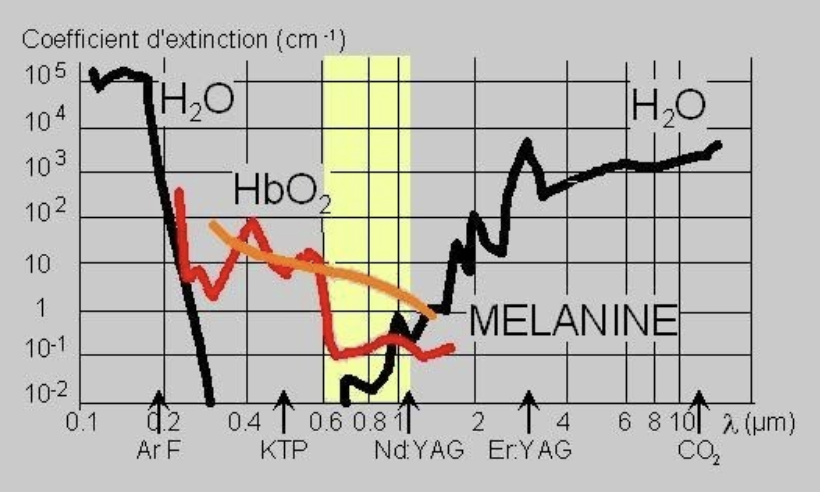 schema explications longueurs d'onde lasers absorption mélanine